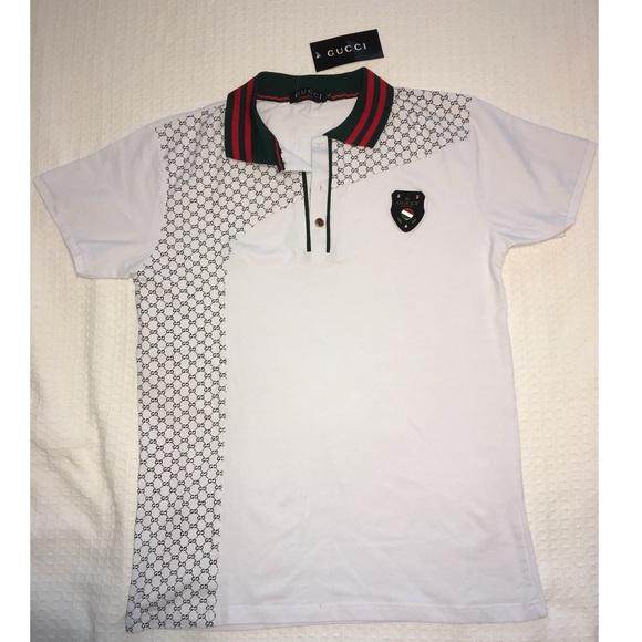 1dda969e3 Gucci Shirts | Mens White Polo Gg Supreme Size Xl | Poshmark
